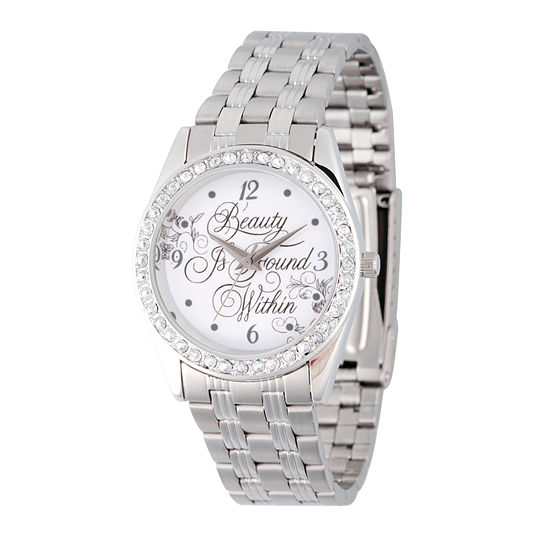 Disney Beauty and the Beast Womens Silver Tone Stainless Steel Bracelet Watch-Wds000314