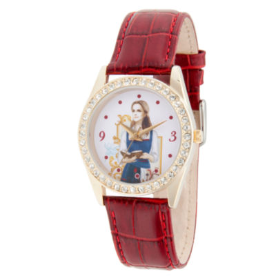 Disney Beauty and the Beast Womens Red Strap Watch-Wds000315