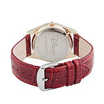 Disney Beauty and the Beast Womens Red Leather Strap Watch-Wds000315