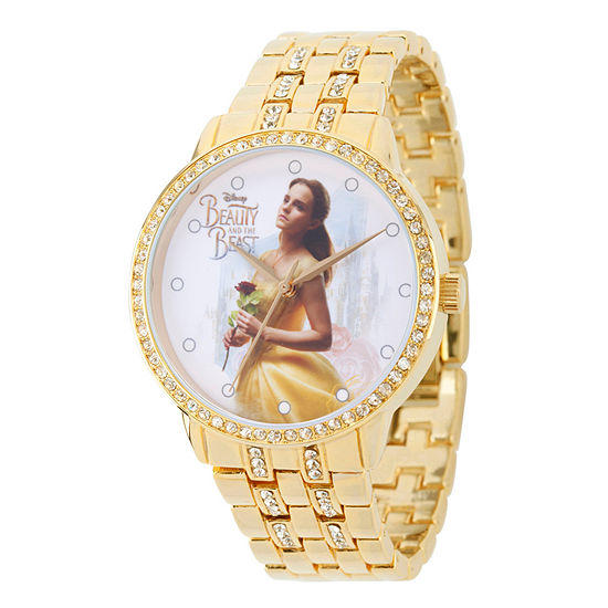 Disney Beauty And The Beast Womens Gold Tone Bracelet Watch Wds000316