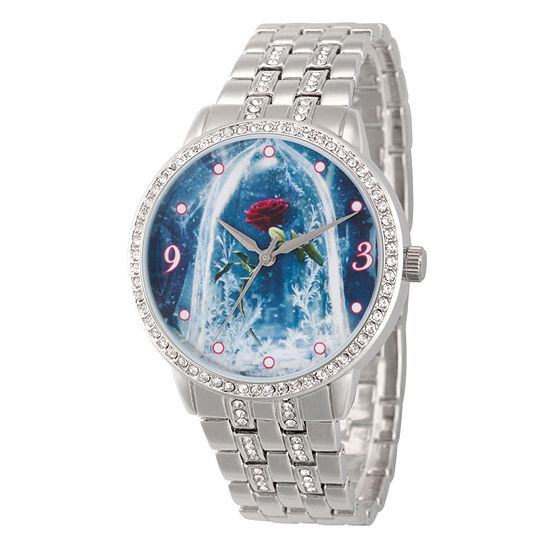 Beauty and the Beast Womens Silver Tone Bracelet Watch-Wds000317