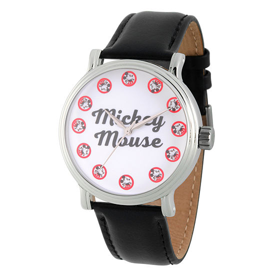Disney Mickey Mouse Mens Black Leather Strap Watch-Wds000335