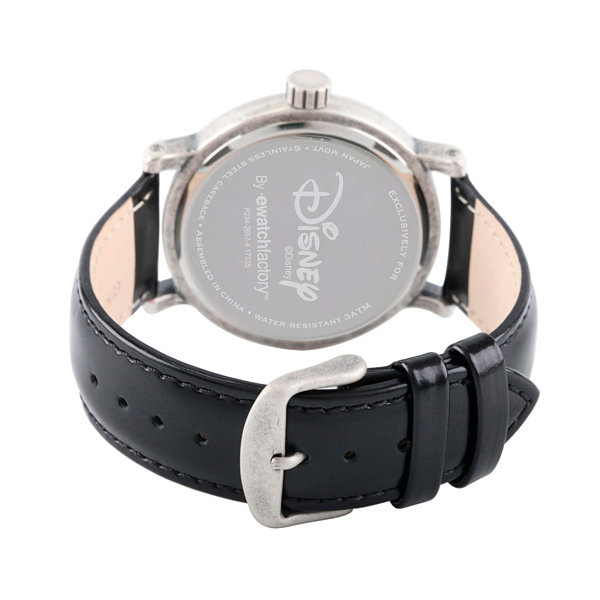 Disney Mickey Mouse Mens Black Strap Watch-Wds000336