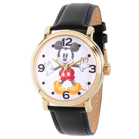 Disney Mickey Mouse Mens Black Leather Strap Watch-Wds000337