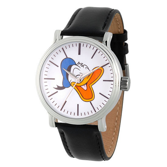 Disney Mickey and Friends Mens Black Leather Strap Watch-Wds000338