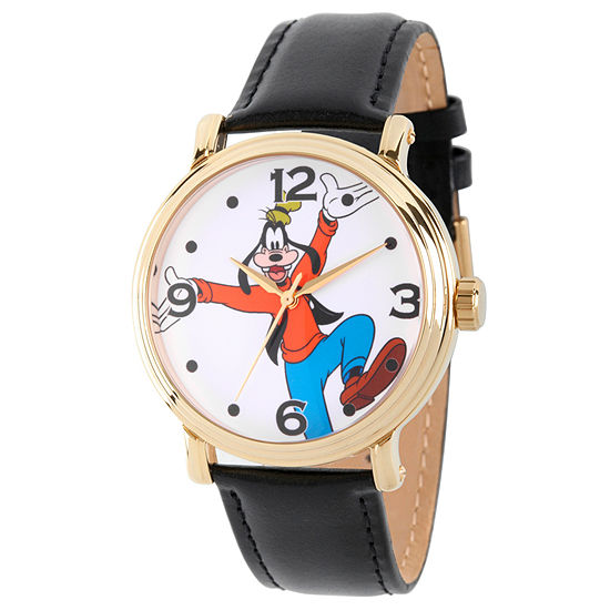 Disney Mickey and Friends Mens Black Leather Strap Watch-Wds000339