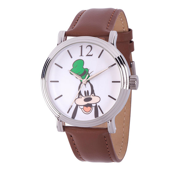 Disney Mickey and Friends Mens Brown Leather Strap Watch-Wds000340