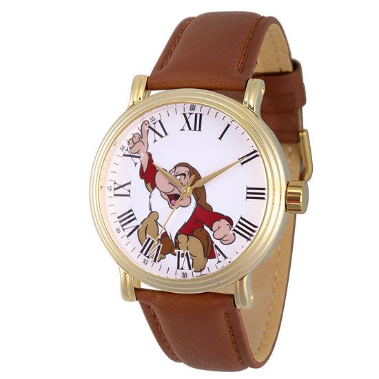 Disney Snow White Mens Brown Leather Strap Watch-Wds000341