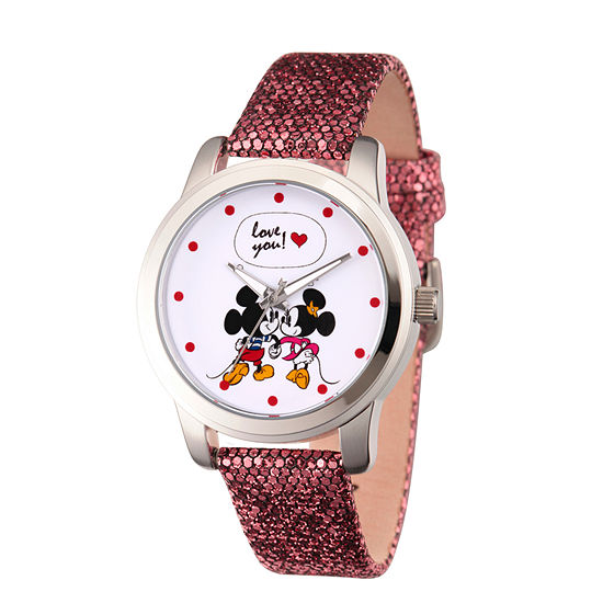 Disney Mickey Mouse Womens Black Leather Strap Watch-Wds000345