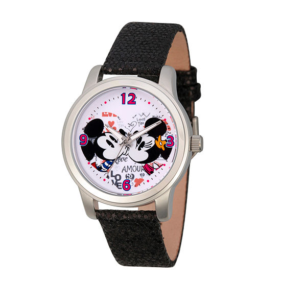 Mickey Mouse Womens Black Leather Strap Watch-Wds000346
