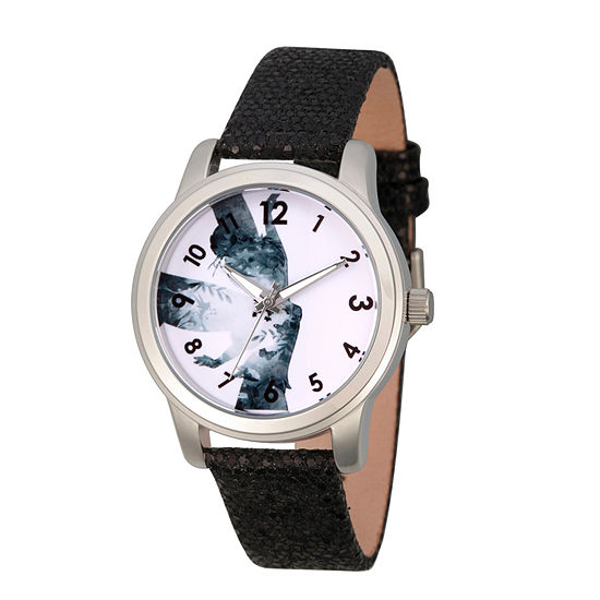 Disney Collection Tinker Bell Womens Black Leather Strap Watch-Wds000347