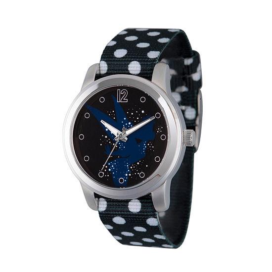 Disney Tinker Bell Womens Black Strap Watch-Wds000348