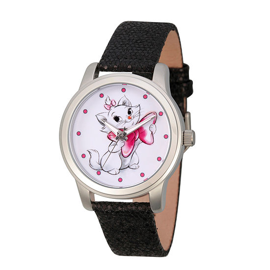 Disney Collection Princess & The Frog Womens Black Leather Strap Watch-Wds000349