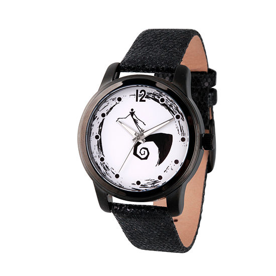 Disney Mickey and Friends Womens Black Leather Strap Watch-Wds000351
