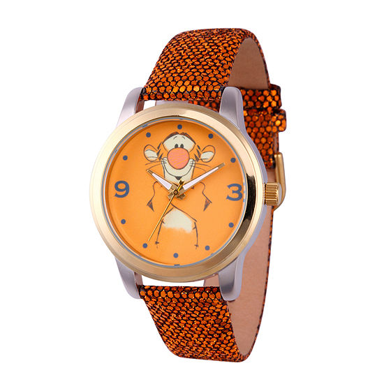 Disney Collection Winnie the Pooh Womens Gold Tone Leather Strap Watch-Wds000353