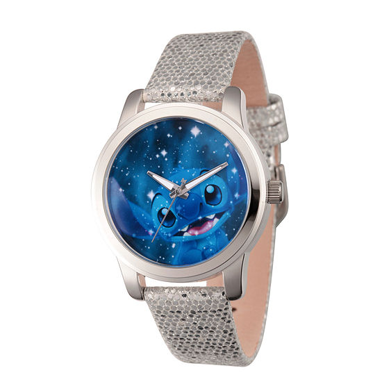 Disney Lilo & Stitch Womens Gray Leather Strap Watch-Wds000355