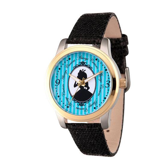 Disney Alice in Wonderland Womens Black Leather Strap Watch-Wds000356