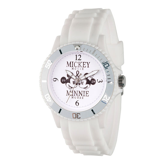Disney Mickey Mouse Womens White Strap Watch-Wds000358