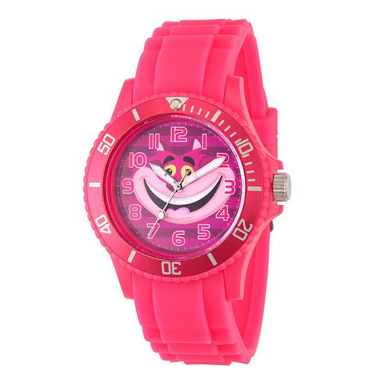Disney Collection Alice in Wonderland Womens Pink Strap Watch-Wds000362