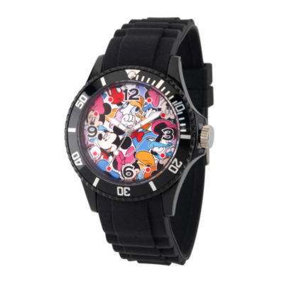 Disney Mickey Mouse Mens Black Strap Watch-Wds000364