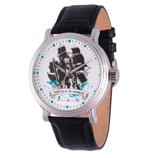 Pirates of the Carribean Mens Black Leather Strap Watch-Wds000369