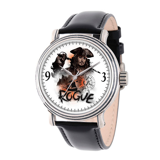 Disney Pirates of the Carribean Mens Black Leather Strap Watch-Wds000370