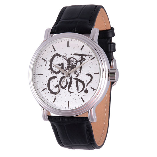 Pirates of the Carribean Mens Black Leather Strap Watch-Wds000371