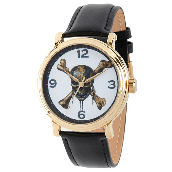 Disney Pirates of the Carribean Mens Black Leather Strap Watch-Wds000372