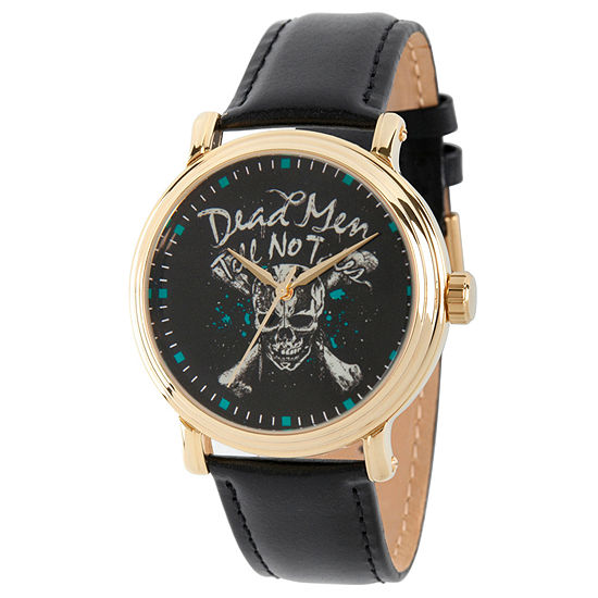 Disney Pirates of the Carribean Mens Black Leather Strap Watch-Wds000373