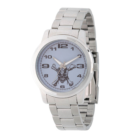 Disney Collection Pirates of the Carribean Mens Silver Tone Stainless Steel Bracelet Watch-Wds000374