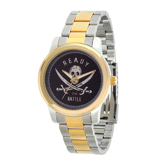 Disney Pirates of the Carribean Mens Two Tone Stainless Steel Bracelet Watch-Wds000375