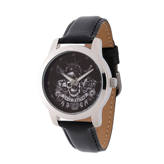Pirates of the Carribean Mens Black Leather Strap Watch-Wds000377