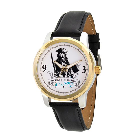 Disney Pirates of the Carribean Mens Black Leather Strap Watch-Wds000378