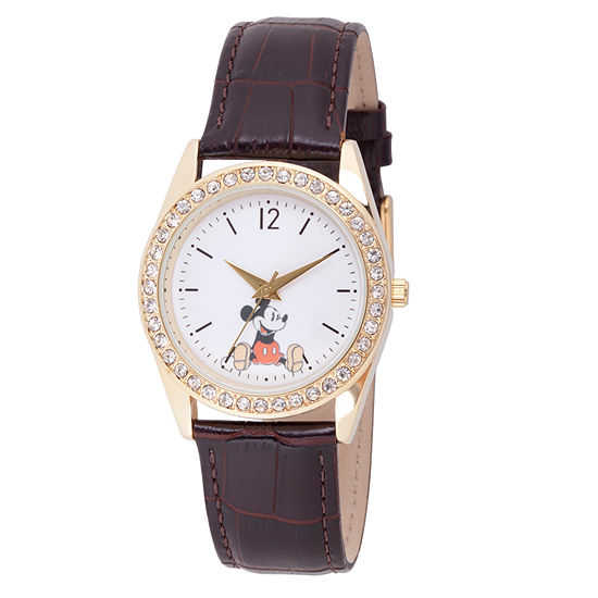 Mickey Mouse Womens Brown Leather Strap Watch-Wds000379