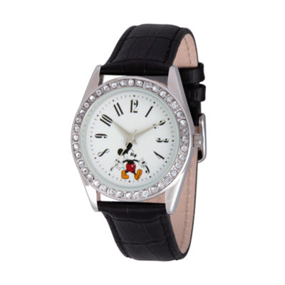 Disney Mickey Mouse Womens Black Strap Watch-Wds000380
