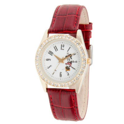 Disney Minnie Mouse Womens Red Strap Watch-Wds000381