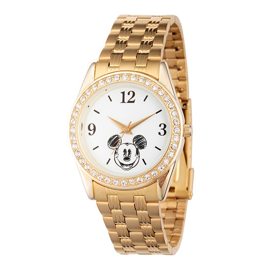 Disney Collection Mickey Mouse Womens Gold Tone Stainless Steel Bracelet Watch-Wds000382