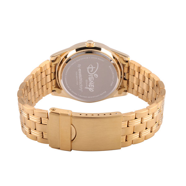 Disney Mickey Mouse Womens Gold Tone Bracelet Watch-Wds000382