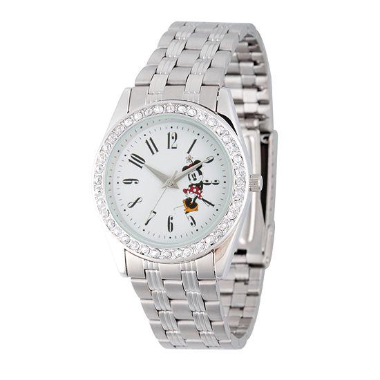 Disney Minnie Mouse Womens Silver Tone Bracelet Watch-Wds000383