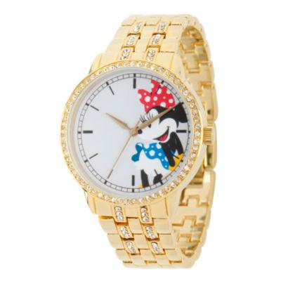 Disney Minnie Mouse Womens Gold Tone Bracelet Watch-Wds000384
