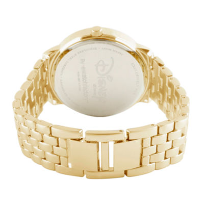 Disney Minnie Mouse Womens Gold Tone Bracelet Watch-Wds000384