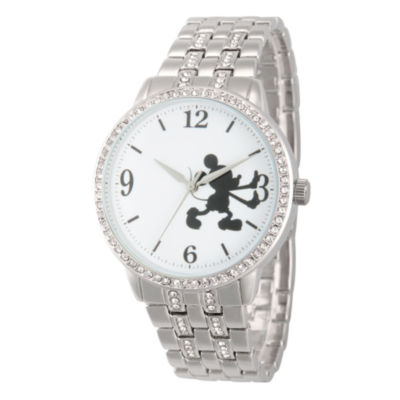 Disney Mickey Mouse Womens Silver Tone Bracelet Watch-Wds000385