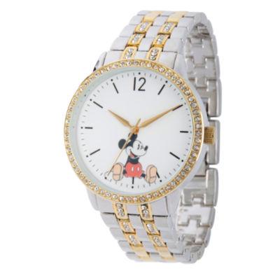 Disney Mickey Mouse Womens Two Tone Bracelet Watch-Wds000386