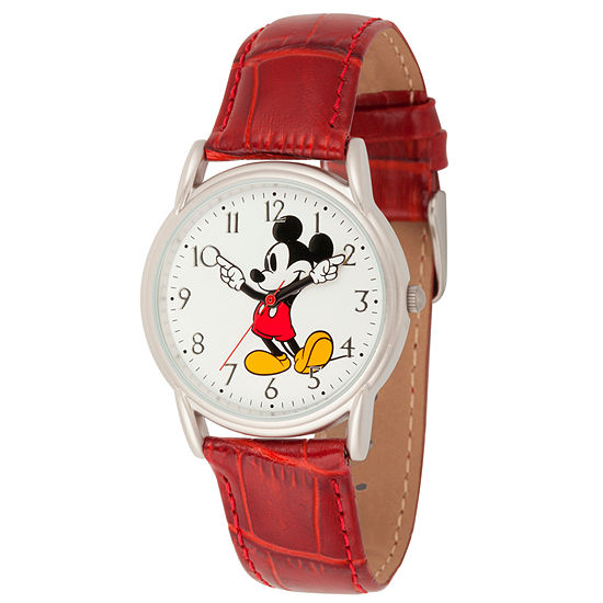 Disney Mickey Mouse Mens Purple Leather Strap Watch-Wds000402