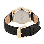 Disney Mickey Mouse Mens Black Leather Strap Watch-Wds000404