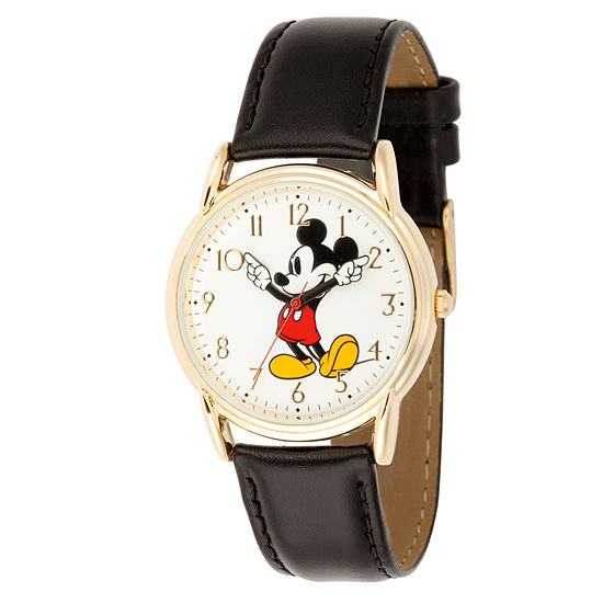 Disney Mickey Mouse Mens Black Leather Strap Watch-Wds000405