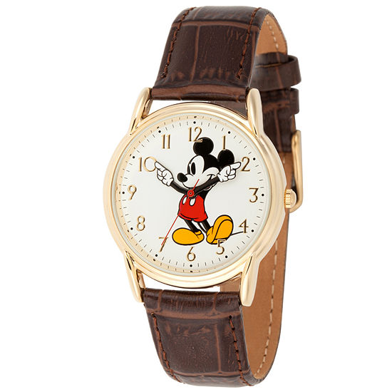 Disney Mickey Mouse Mens Brown Leather Strap Watch-Wds000406