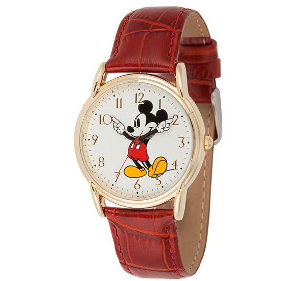 Disney Mickey Mouse Mens Red Leather Strap Watch-Wds000407