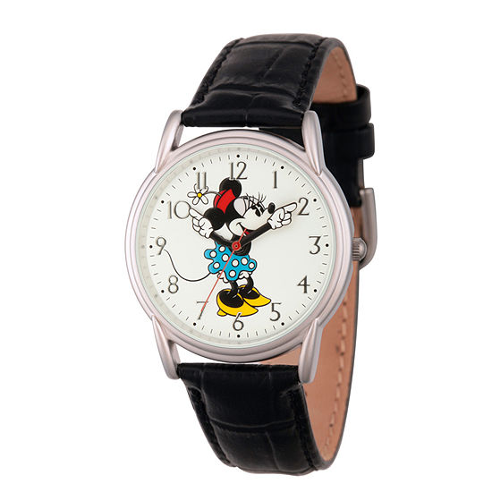Disney Minnie Mouse Womens Black Strap Watch Wds000408