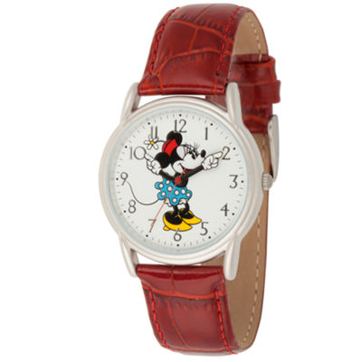Disney Minnie Mouse Womens Red Strap Watch-Wds000409